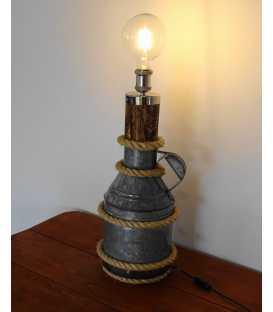 Wood, old metal milk jug and rope decorative table light 218