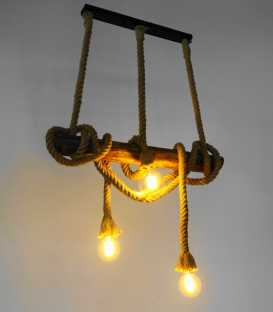 Wood and rope pendant light 229