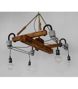 Κρεμαστό φωτιστικό οροφής από ξύλο, μέταλλο και σχοινί 230