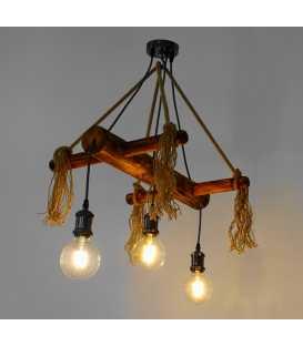 Κρεμαστό φωτιστικό οροφής από ξύλο και σχοινί 232