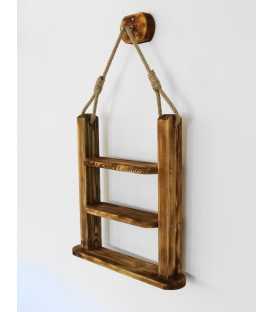 Hängendes Wandregal aus Holz und Seil 242