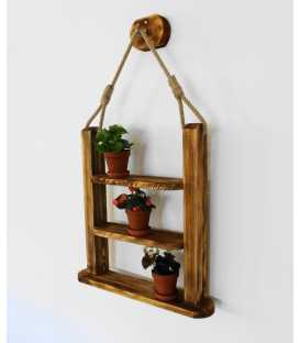 Hanging wood and rope wall shelf 242