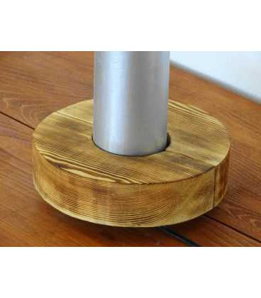 Διακοσμητικό φωτιστικό επιτραπέζιο από μέταλλο με ξύλινη βάση 243
