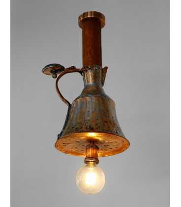 Κρεμαστό φωτιστικό οροφής από παλιά χάλκινη κανάτα και ξύλο 248