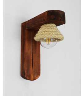 Wandleuchter aus Holz und Seil 259