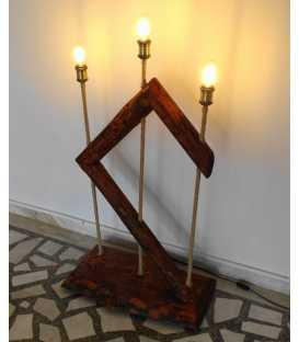 Wood, metal and rope floor lamp 264