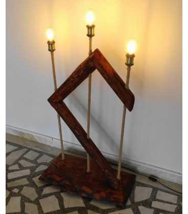 Φωτιστικό δαπέδου από ξύλο, μέταλλο και σχοινί 264