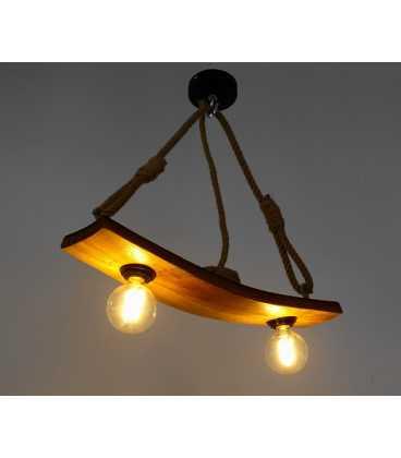 Κρεμαστό φωτιστικό οροφής από ξύλο και σχοινί 269