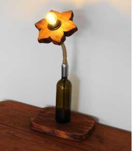 Διακοσμητικό φωτιστικό επιτραπέζιο από μπουκάλι κρασιού, ξύλο και σχοινί 289