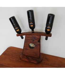 Διακοσμητικό φωτιστικό επιτραπέζιο από ξύλο με βάση για κρασί τριών θέσεων 285