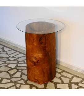 Ξύλινο τραπεζάκι με τζάμι και φωτάκι