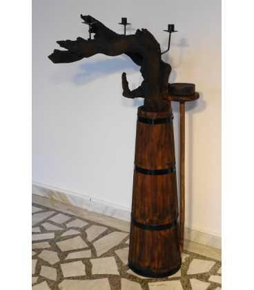 Κηροπήγιο ξύλινο-μεταλλικό από ρίζα δέντρου και παλιό δοχείο