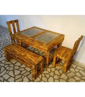 Palettenholz Tischgarnitur mit zwei Stühlen und einer Bank 035