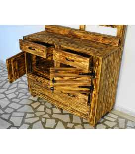 Pallet wood cabinet with 4 drawers and 2 doors