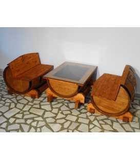 Σετ 2 καναπέδες με τραπέζι από ξύλινα βαρέλια κρασιού 038