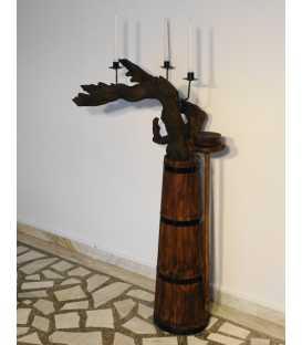 Κηροπήγιο ξύλινο/μεταλλικό από ρίζα δέντρου και παλιό ντουρβάνι