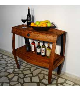 Wooden table with two shelves 042