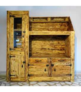 Pallet wood showcase with 2 drawers and 3 cupboards 006