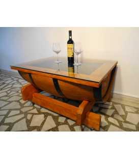Τραπέζι από ξύλινο βαρέλι κρασιού με τζάμι 001