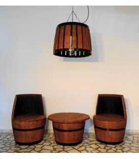 Weinfass Tischgarnitur mit 2 Sesseln und hängende Deckenleuchte 050