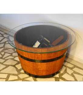 Τραπέζι από ξύλινο βαρέλι κρασιού με τζάμι 051