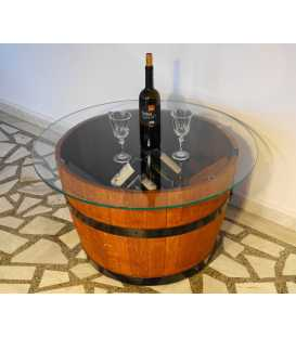 Wine barrel table with glass top 051