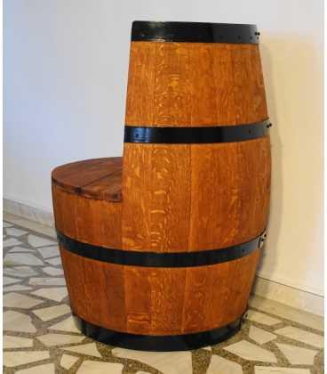 Σετ 2 πολυθρόνες με τραπέζι από ξύλινα βαρέλια κρασιού 052