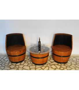 Wine barrel table set with 2 armchairs 052