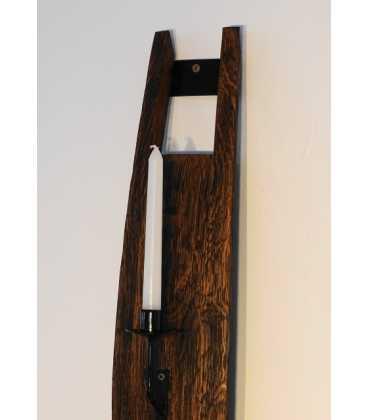 Κηροπήγιο ξύλινο/μεταλλικό από δούγα βαρελιού