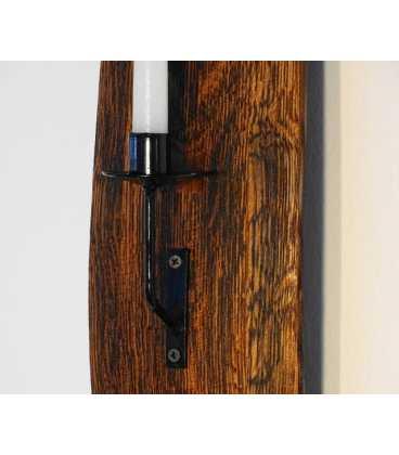 Wandkerzenhalter Holz/Metal aus Fassdaube