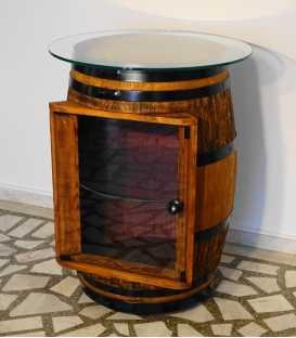 Weinfass Tischbar mit Glasplatte