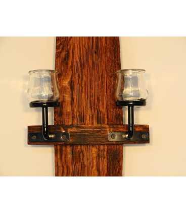 Κηροπήγιο ξύλινο/μεταλλικό από δούγα δρύινου βαρελιού 066