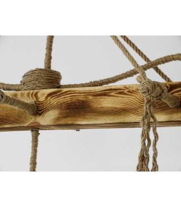 Κρεμαστό φωτιστικό οροφής από ξύλο και σχοινή 069