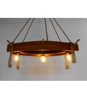 Κρεμαστό φωτιστικό οροφής από ξύλο και σχοινή 072