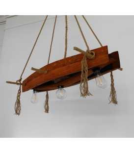 Holz und Seil hängende Deckenleuchte 072