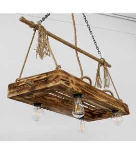 Holz und Seil hängende Deckenleuchte 073