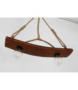 Holz und Seil hängende Deckenleuchte 076