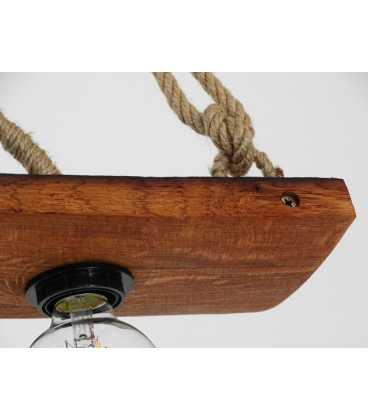 Κρεμαστό φωτιστικό οροφής από ξύλο και σχοινή 076