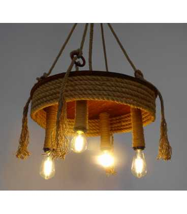 Wood and rope pendant light 081