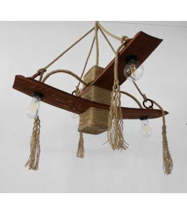 Wood and rope pendant light 082
