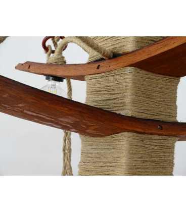 Κρεμαστό φωτιστικό οροφής από ξύλο και σχοινή 082
