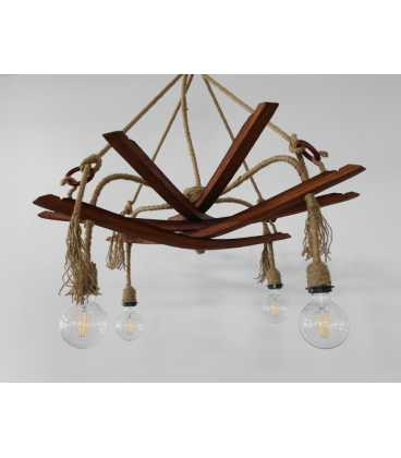 Wood and rope pendant light 083