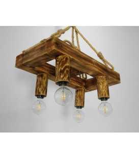 Κρεμαστό φωτιστικό οροφής από ξύλο και σχοινή 084