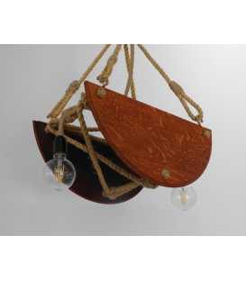 Holz und Seil hängende Deckenleuchte 088