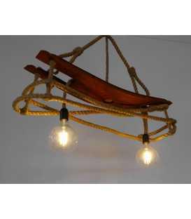Κρεμαστό φωτιστικό οροφής από ξύλο και σχοινή 089
