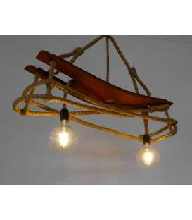 Wood and rope pendant light 089