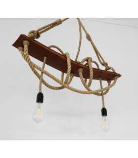 Wood and rope pendant light 090