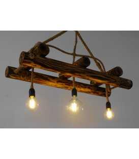 Holz und Seil hängende Deckenleuchte 093