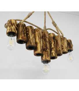 Wood and rope pendant light 094