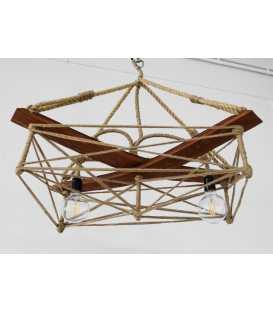 Κρεμαστό φωτιστικό οροφής από ξύλο, μέταλλο και σχοινί 098